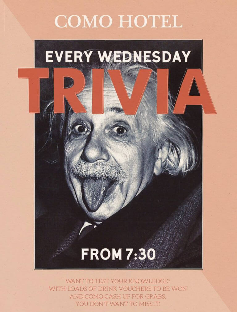 Como Hotel Every Wednesday Trivia FROM 7:30